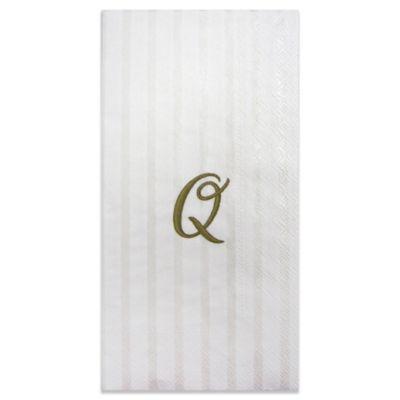 """Paper Monogram Letter """"Q"""" Guest Towels (16-Pack)"""