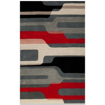 Momeni Delhi 2-Foot 3-Inch x 8-Foot Wool Rug in Black/Red/White