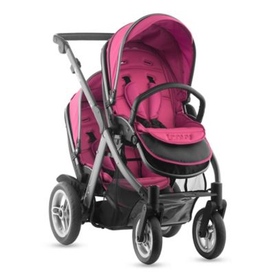 Joovy® Too Qool Double Stroller with Graphite Grey Frame in Hot Pink