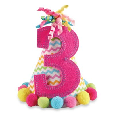 "Mud Pie® ""I'm Three"" Party Hat in Pink"