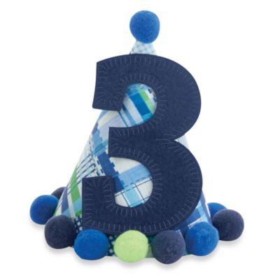 "Mud Pie® ""I'm Three"" Party Hat in Blue"