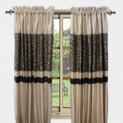 Sherry Kline True Safari 84-Inch Window Curtain Panel Pair in Black/Red