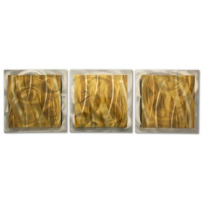 Gold Essence 3-Panel Layered Metal Wall Art