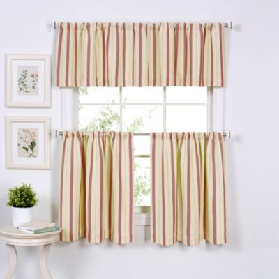 Updated Ticking 24-Inch Window Curtain Tier Pair in Gold