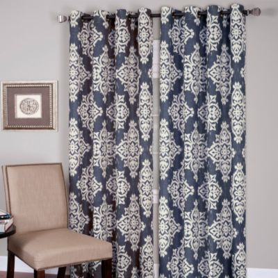 Medina Grommet 84-Inch Window Curtain Panel in Navy