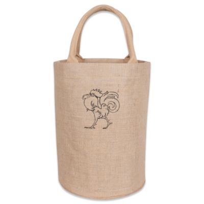 Rooster Bucket Tote Jute Bag