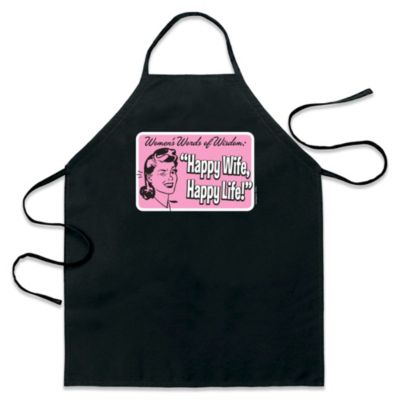 ICUP Happy Wife Happy Life Apron in Black