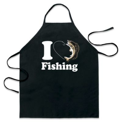 "ICup ""I Love Fishing"" Apron in Black"