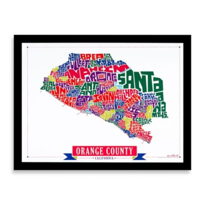 Orange County Map Framed Wall Art
