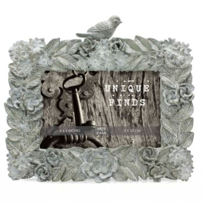 Arte de Casa Argento Bird Loiseau 4-Inch x 6-Inch Frame in Blue