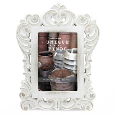 Arte de Casa Argento SC Distressed 4-Inch x 6-Inch Madeline Scroll Frame in White