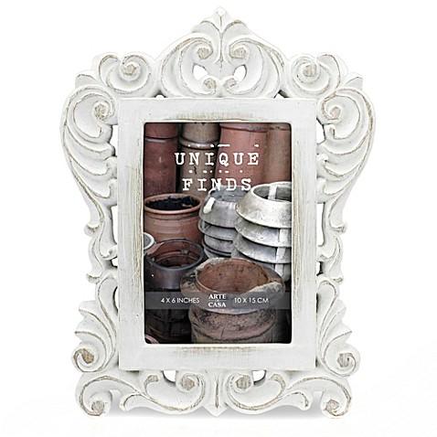 Arte de Casa Argento SC Distressed 4-Inch x 6-Inch Madeline Scroll Frame in White