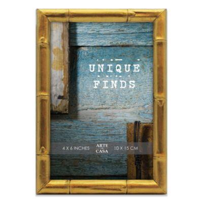 Arte de Casa Argento Bamboo 4-Inch x 6-Inch Frame in Shiny Gold