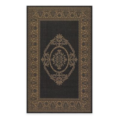 Couristan Antique Medallion 3-Foot 9-Inch x 5-Foot 5-Inch Indoor/Outdoor Rug in Black/Cocoa