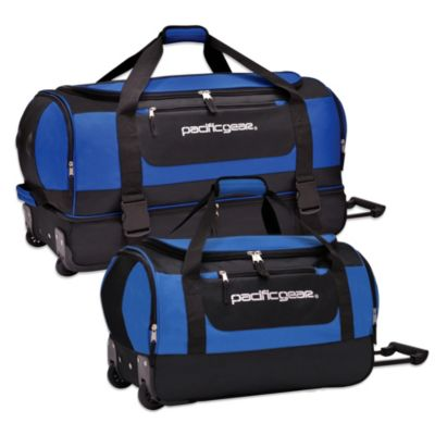 Drop-Bottom Rolling Duffel in Blue