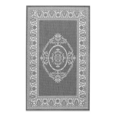 Couristan Antique Medallion 3-Foot 9-Inch x 5-Foot 5-Inch Indoor/Outdoor Rug in Grey/White