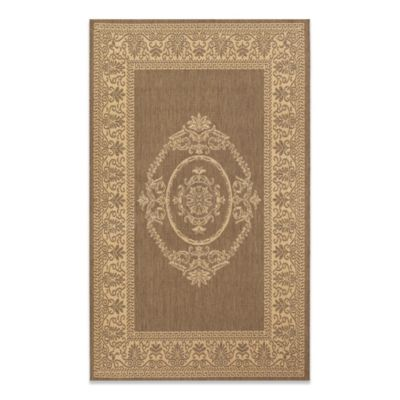 Couristan Antique Medallion 2-Foot 3-Inch x 11-Foot 9-Inch Indoor/Outdoor Runner in Natural/Cocoa