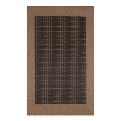Couristan® Checkered Field 8-Foot 6-Inch Round Rug in Black/Cocoa