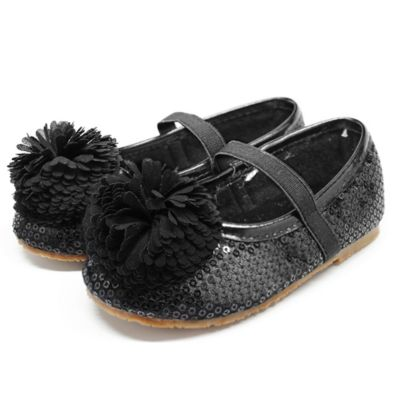 Stepping Stones Size 10 Pom Pom Shoe in Black