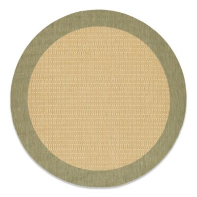Couristan® 7-Foot 6-Inch Round Checkered Field Rug in Natural/Green