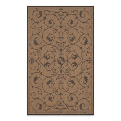 Couristan® Veranda 5-Foot 3-Inch x 7-Foot 6-Inch Indoor/Outdoor Rug in Cocoa/Black