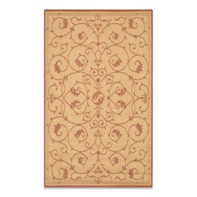 Couristan® Veranda 3-Foot 9-Inch x 5-Foot 5-Inch Indoor/Outdoor Rug in Natural/Terracotta
