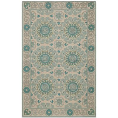 Momeni Suzani 3-Foot 6-Inc x 5-Foot 6-Inch Hook Rug in Aqua