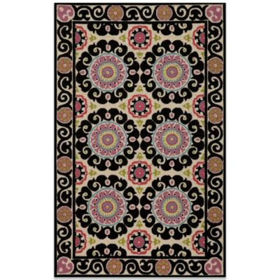 Momeni Suzani 2-Foot x 3-Foot Hook Rug in Black