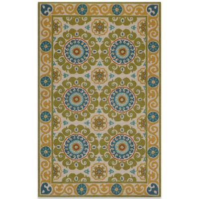 Momeni Suzani 5-Foot x 8-Foot Hook Rug in Lime