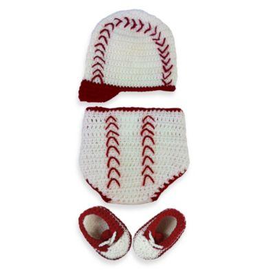 So 'dorable Baseball 3-Piece Crochet Set in White