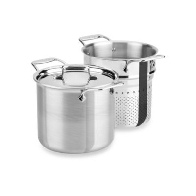 All-Clad d5 Brushed Stainless Steel 7-Quart Covered Pasta Pentola with Colander Insert