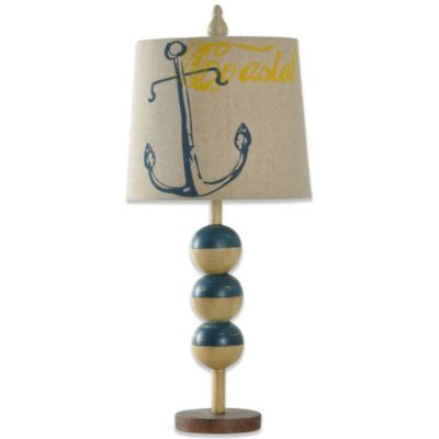 Stacked Ball Coastal Lamp Base With Shade