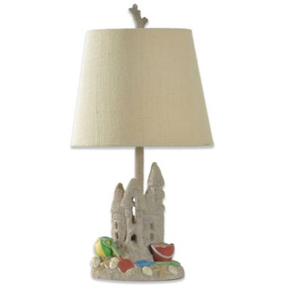 Sandcastle Coastal Lamp Base With Linen Shade