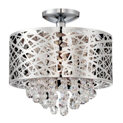Lite Source Benedetta Four-Light Semi-Flush Mount Pendant Light in Chrome