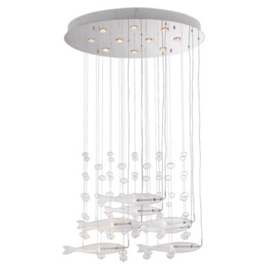 Lite Source Seabright 10 + 8-Light Chandelier in Chrome