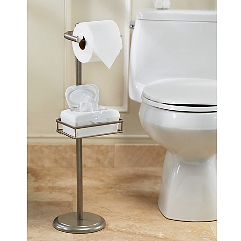Spa creations toilet paper stand with wet wipe adjustable shelf bed bath beyond - Tissue holder bathroom ...