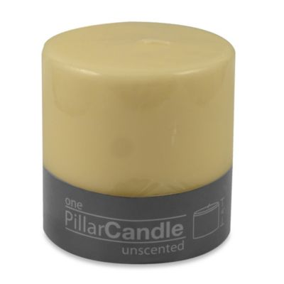 4-Inch x 4-Inch Unscented Pillar Candle in Ivory