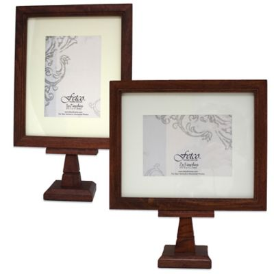 Fetco Home Decor™ Mitchum Matted 7-Inch x 5-Inch Horizontal Pedestal Photo Frame in Walnut