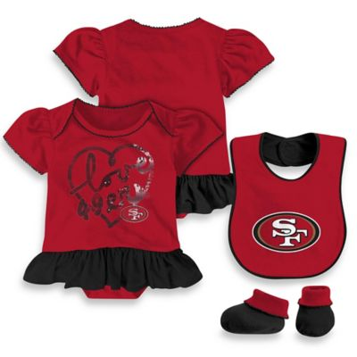 NFL San Francisco 49ers Size 24M 3-Piece Girl Creeper Bib and Bootie Set