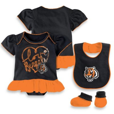 NFL Cincinnati Bengals Size 0-3M 3-Piece Girl Creeper Bib and Bootie Set