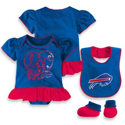NFL Buffalo Bills Size 24M 3-Piece Girl Creeper Bib and Bootie Set