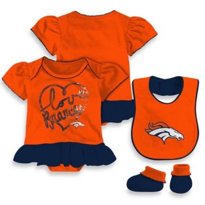 NFL Denver Broncos Size 18M 3-Piece Girl Creeper Bib and Bootie Set