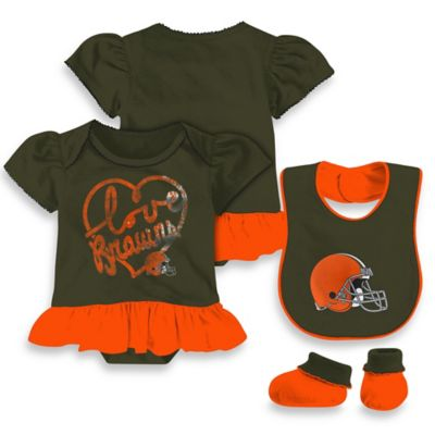 NFL Cleveland Browns Size 3-6M 3-Piece Girl Creeper Bib and Bootie Set