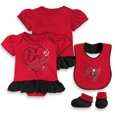 NFL Tampa Bay Buccaneers Size 12M 3-Piece Girl Creeper Bib and Bootie Set