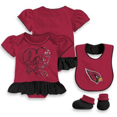 NFL Arizona Cardinals Size 0-3M 3-Piece Girl Creeper Bib and Bootie Set