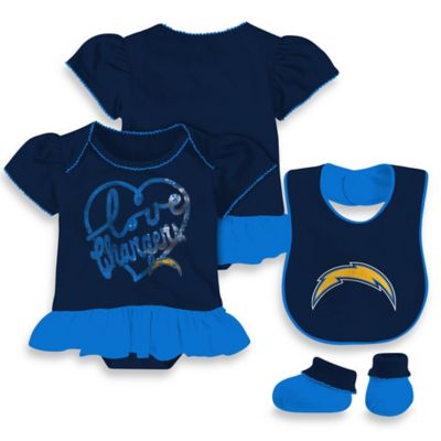 NFL San Diego Chargers Size 18M 3-Piece Girl Creeper Bib and Bootie Set