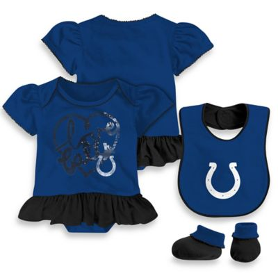 NFL Indianapolis Colts Size 6-9M 3-Piece Girl Creeper Bib and Bootie Set