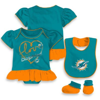 NFL Miami Dolphins Size 24M 3-Piece Girl Creeper Bib and Bootie Set