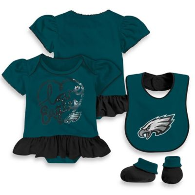 NFL Philadelphia Eagles Size 24M 3-Piece Girl Creeper Bib and Bootie Set