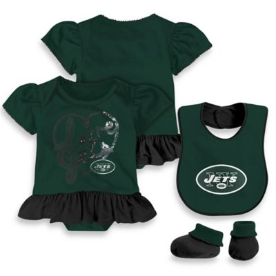 NFL New York Jets Size 12M 3-Piece Girl Creeper Bib and Bootie Set